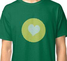 Striped heart yellow   Classic T-Shirt