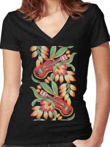 Ukulele Pattern (Black) Women's Fitted V-Neck T-Shirt