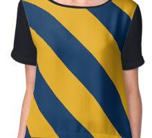 Morgantown West Virginia Gold & Navy Team Color Stripes Chiffon Top