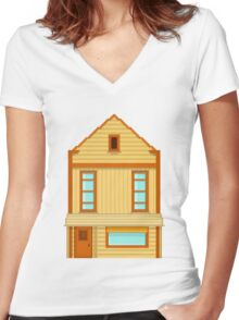 Wild West pixel House Women's Fitted V-Neck T-Shirt