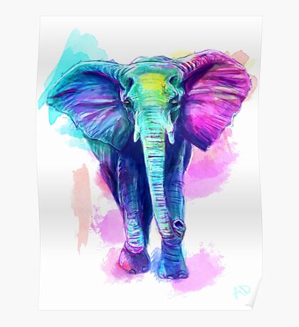 Watercolour Elephant Poster