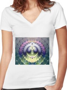 FRACTAL # 5 ~ ABSTRACT ~ COLORFUL Women's Fitted V-Neck T-Shirt