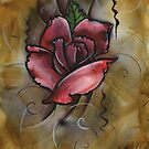 mixed media rose painting by resonanteye
