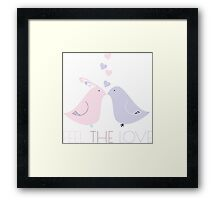 Two Cartoon Love Birds Kissing Framed Print