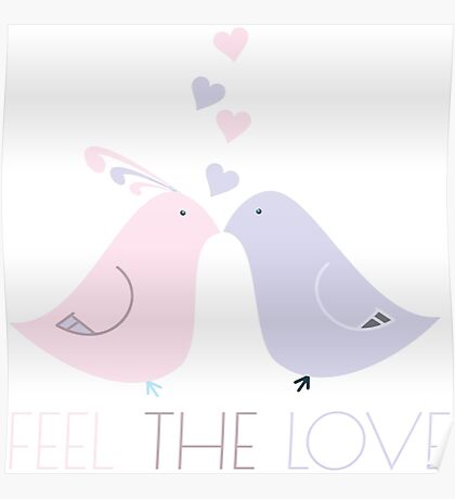 Two Cartoon Love Birds Kissing Poster