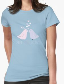 Two Cartoon Love Birds Kissing Womens Fitted T-Shirt