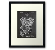 Harley Davidson Motorcycle Engine US Patent Art 1923 Framed Print