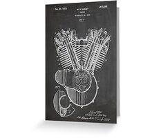 Harley Davidson Motorcycle Engine US Patent Art 1923 Greeting Card