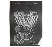Harley Davidson Motorcycle Engine US Patent Art 1923 Poster