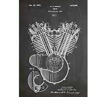 Harley Davidson Motorcycle Engine US Patent Art 1923 Photographic Print