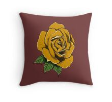 Neo-Traditional Golden Rose Throw Pillow