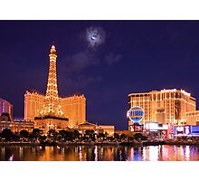 Las Vegas Paris at Night Photographic Print