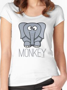 Funny Monkey Elephant Design Women's Fitted Scoop T-Shirt