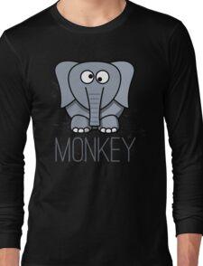 Funny Monkey Elephant Design Long Sleeve T-Shirt