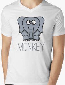 Funny Monkey Elephant Design Mens V-Neck T-Shirt
