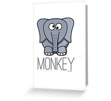 Funny Monkey Elephant Design Greeting Card