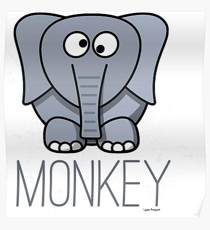Funny Monkey Elephant Design Poster