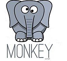 Funny Monkey Elephant Design Photographic Print