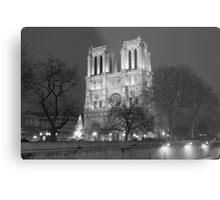 Notre Dame Cathedral Christmas Night Metal Print