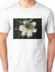 Emerging from the Darkness - Pure White Easter Lily Unisex T-Shirt
