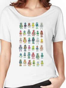 Robot Line-up on White Women's Relaxed Fit T-Shirt