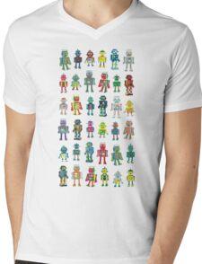 Robot Line-up on White Mens V-Neck T-Shirt