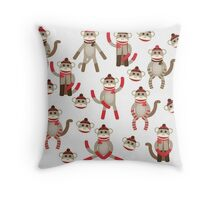 Sock Monkey Toy Throw Pillow