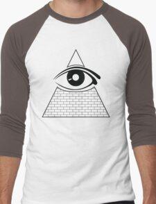 All Seeing Eye (Black/White) Men's Baseball ¾ T-Shirt