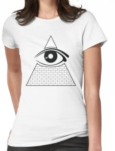 All Seeing Eye (Black/White) Womens Fitted T-Shirt