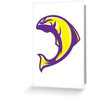 Husky Salmon (Purple/Yellow/White) - Spor Repor Salmon Greeting Card