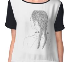 OUTLINE GIRL 2 BRAIDS TUMBLR TRANSPARENT Chiffon Top