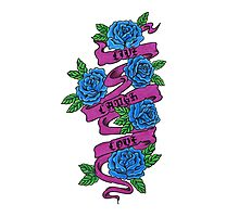 roses with scrolls.. live laugh love Photographic Print