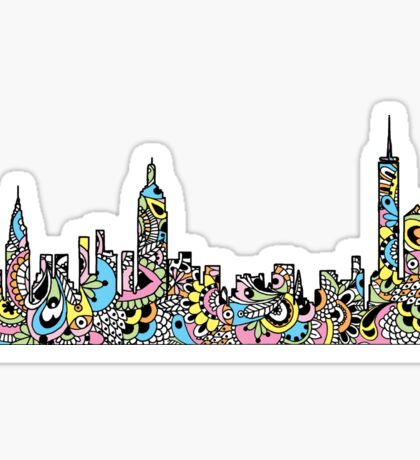 NYC Colored Mandala Skyline  Sticker