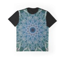 Mandala with green and blue swirls Graphic T-Shirt