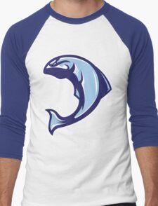 Winter Salmon (Blue/White/Light Blue) - Spor Repor Salmon Men's Baseball ¾ T-Shirt