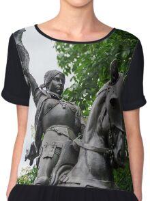 Janna d'Ark on the horse, metal sculpture, Nancy, France Chiffon Top