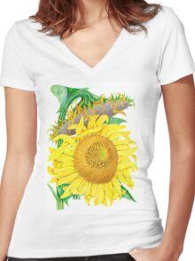 Mammoth Gray Stripe sunflower Women's Fitted V-Neck T-Shirt