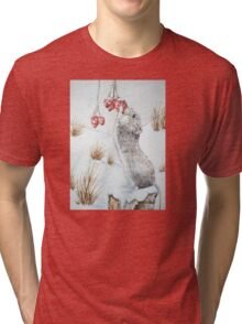 Cute mouse and red berries snow scene wildlife art   Tri-blend T-Shirt