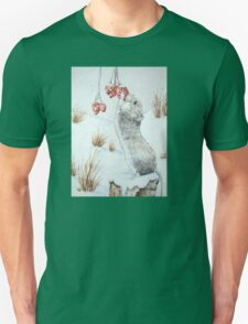 Cute mouse and red berries snow scene wildlife art   Unisex T-Shirt