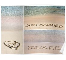 Collage of wedding messages written on sand Poster