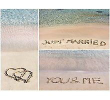 Collage of wedding messages written on sand Photographic Print