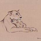 """""""Guardian"""" - Lioness and Cub prisma pencil drawing by Rebecca Rees"""