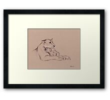 """Guardian"" - Lioness and Cub prisma pencil drawing Framed Print"