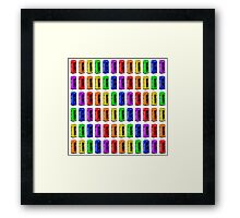 Rainbow London telephone boxes montage pattern Framed Print