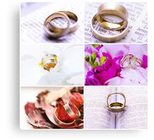 Photo collage of wedding rings images Canvas Print