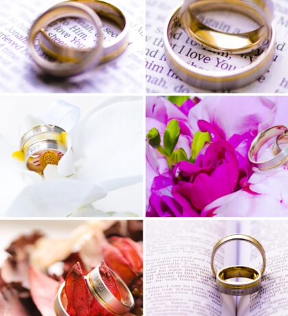 Photo collage of wedding rings images Sticker