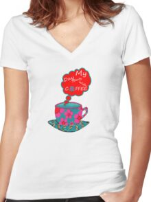 My Day Starts With Coffee Women's Fitted V-Neck T-Shirt