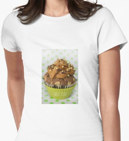 Sweet green love cupcake Womens Fitted T-Shirt