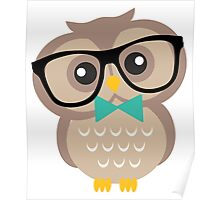 Cute Hipster Owl Poster