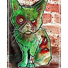 Mean Green Cute Zombie Cat by byronrempel